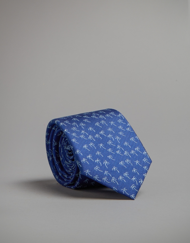 Blue tie with palm tree print