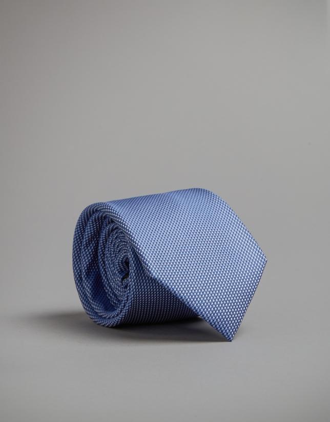 Two-tone blue fake plain tie