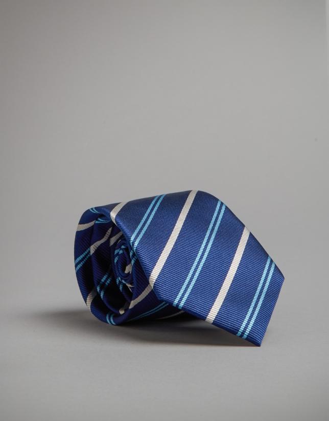 Corbata rayas tonos azules