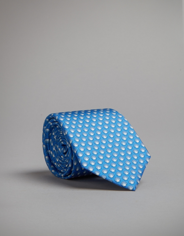 Blue tie with seashell print