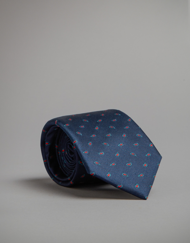 Blue tie with green and red dots