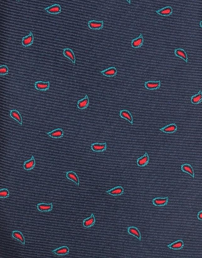 Corbata azul  cachemires verde y rojo