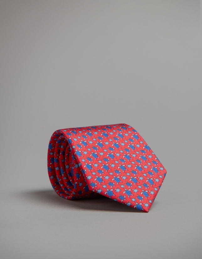 Corbata roja con estampado tortugas