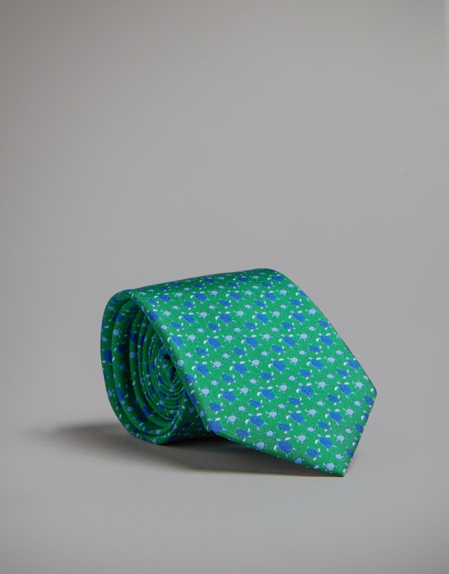 Green tie with turtle print