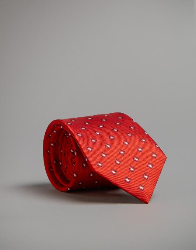 Red jacquard geometric tie