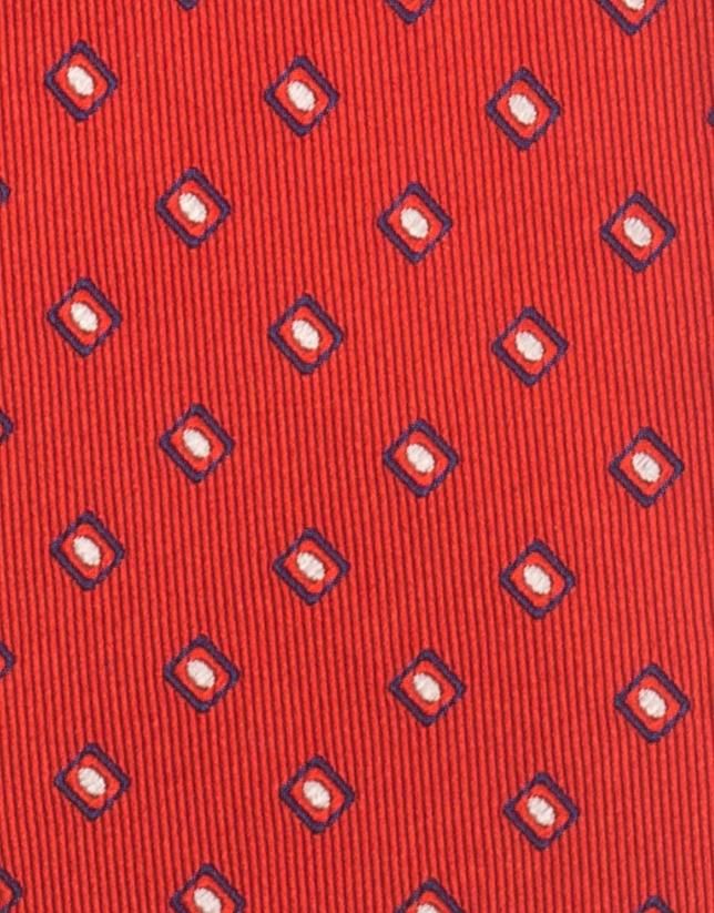 Corbata roja jacquard geométrico
