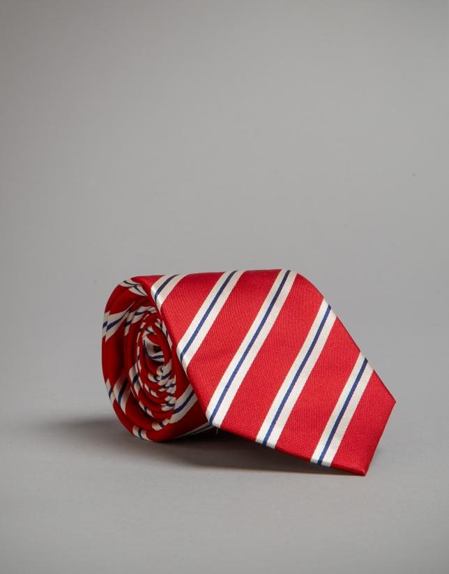 Corbata roja rayas crudo y marino