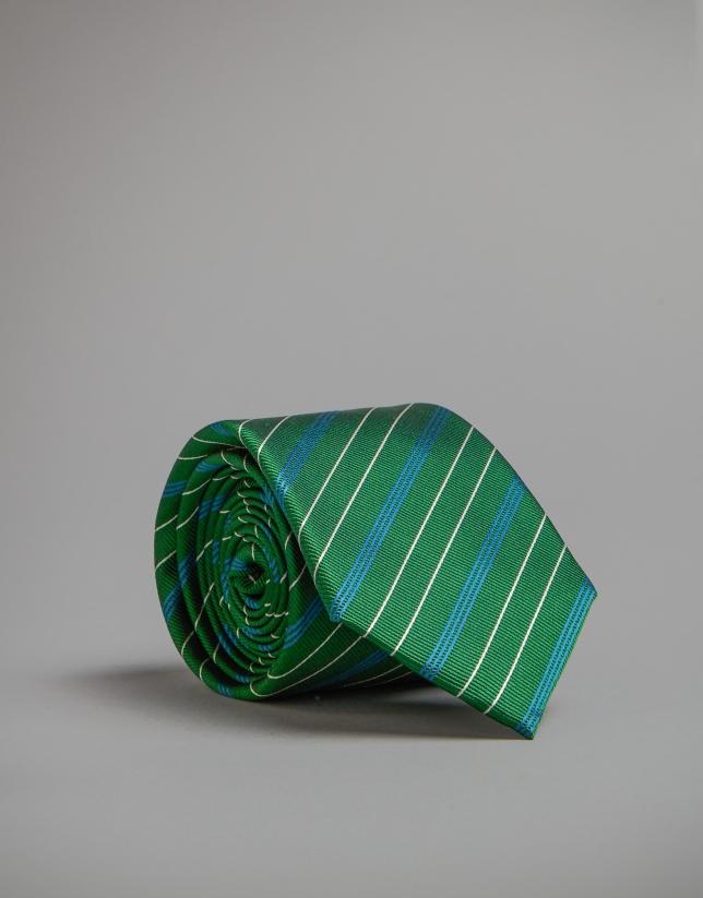 Corbata verde rayas azul/blanco