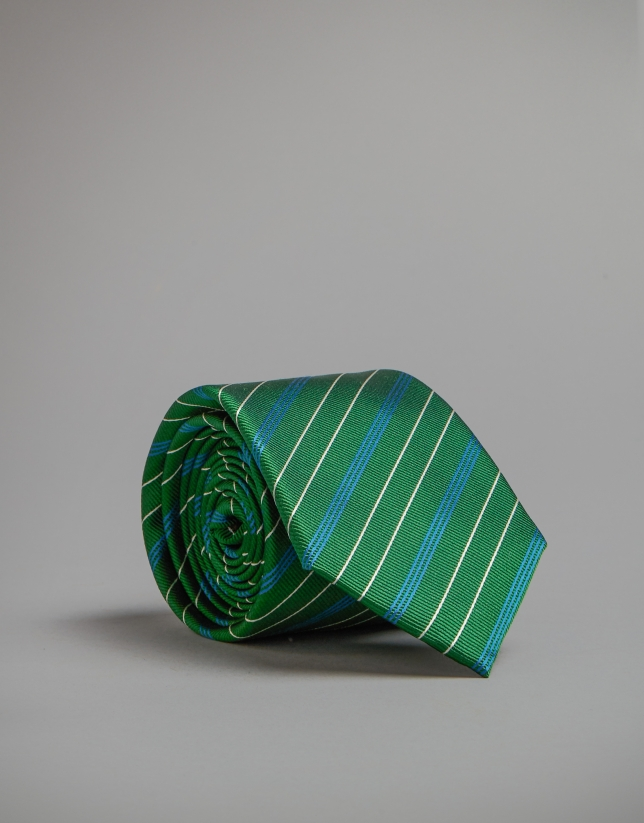 Green tie with blue and white stripes