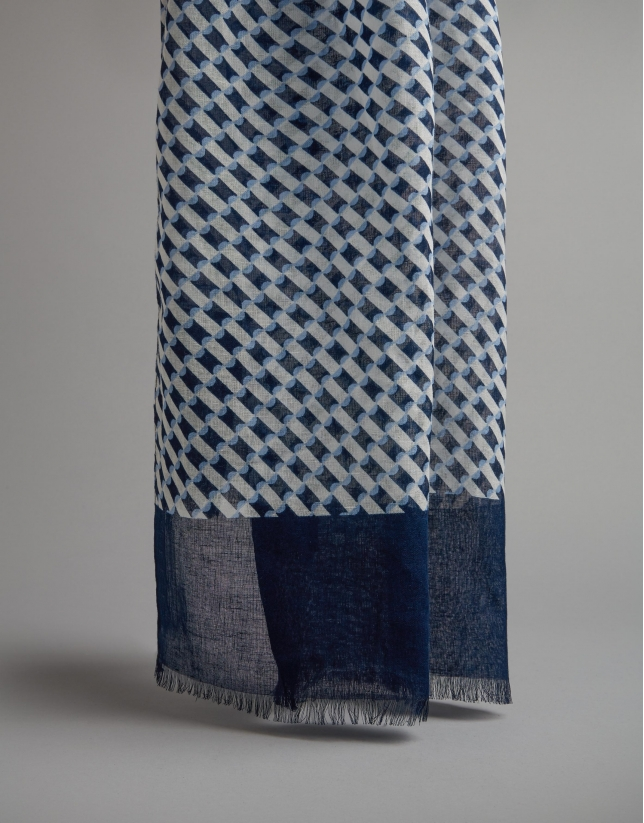Blue geometric scarf