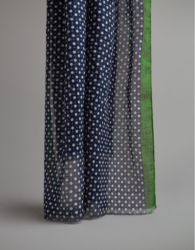Blue and white polka dot scarf with green sides