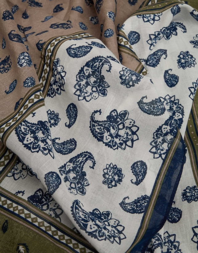 Foulard à cachemires en bleu/kaki
