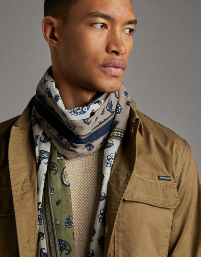 Blue and khaki dotted scarf