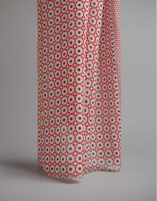 Foulard imprimé géométrique en rouge/bleu