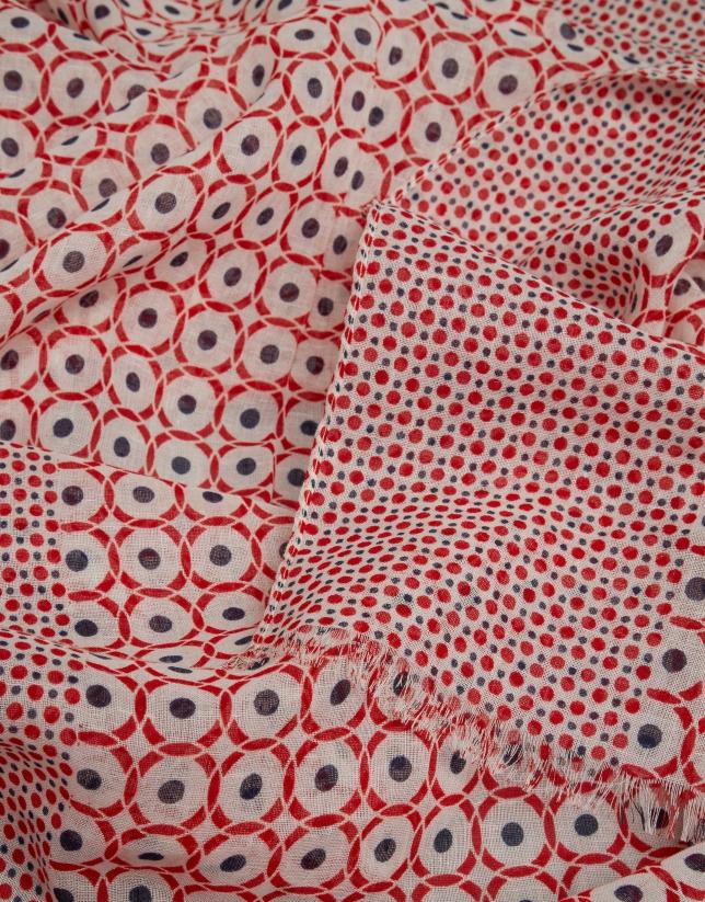 Fular estampado geométrico rojo/azul