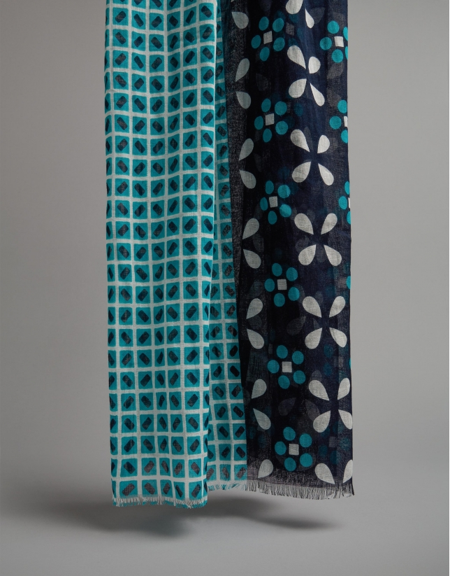 Turquoise geometric scarf with floral panels