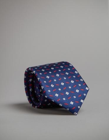 Corbata azul tinta jacquard blanco/rojo