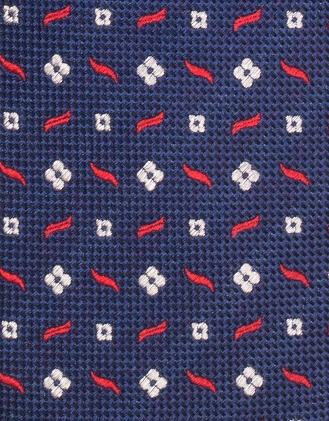 Indigo blue tie with red and white jacquard print