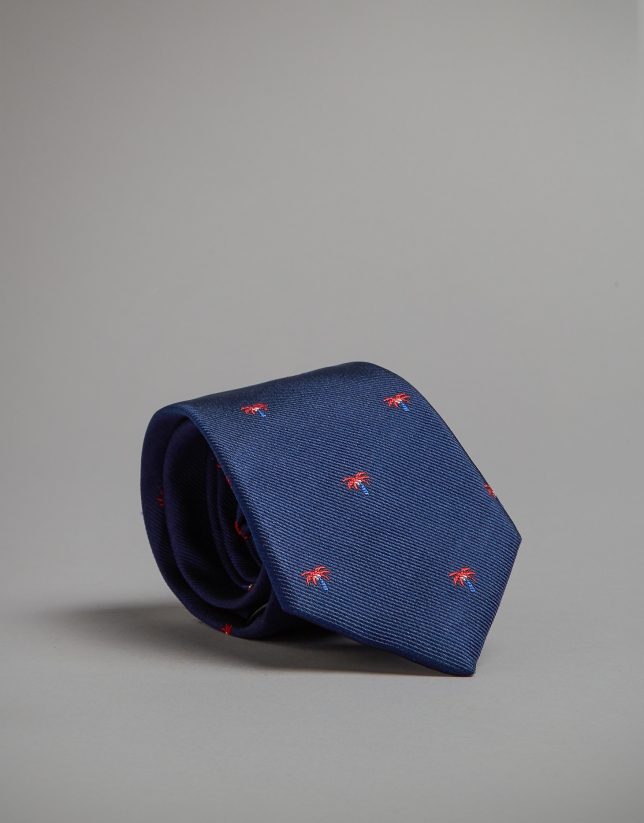 Blue tie with red and blue palm trees
