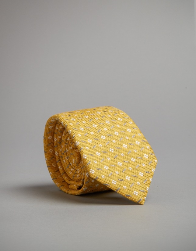 Yellow tie with gray and white geometric jacquard print