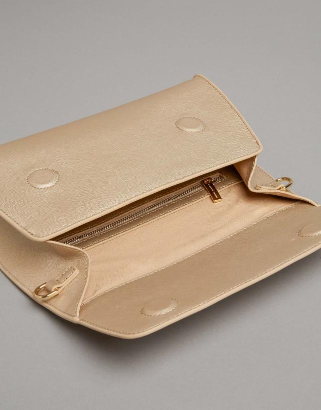 Bolso de mano Goodly piel saffiano dorada