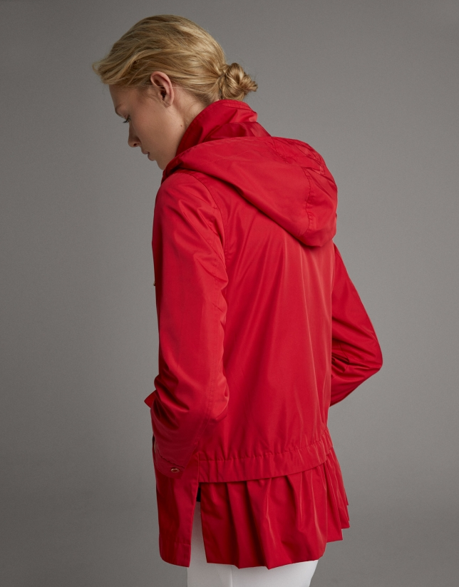 Red light fabric parka with hood