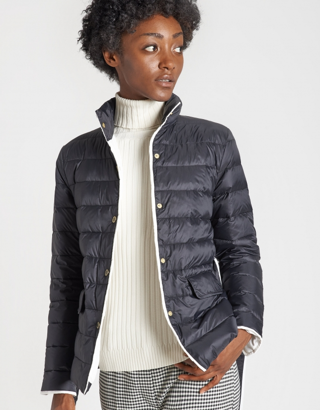 Black quilted jacket with belt