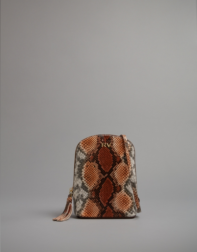 Mini sac à bandoulière Fabiola imprimé serpent caramel