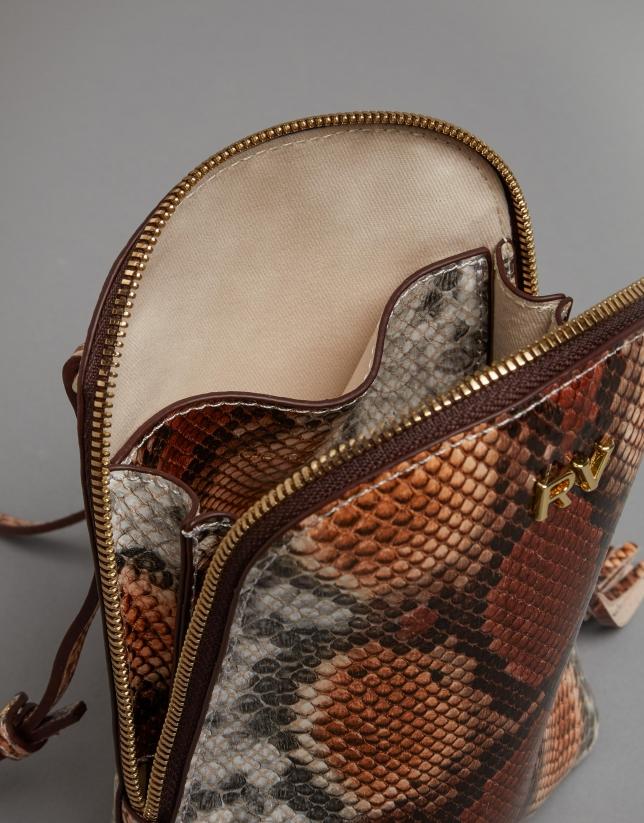Toffee Fabiola mini- shoulder bag with snakeskin print