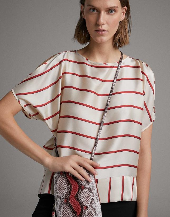 Pink Fabiola mini- shoulder bag with snakeskin print