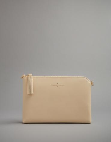 Light beige leather Lisa clutch bag