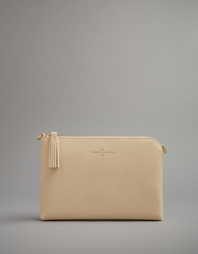 Light beige leather Lisa clutch bag