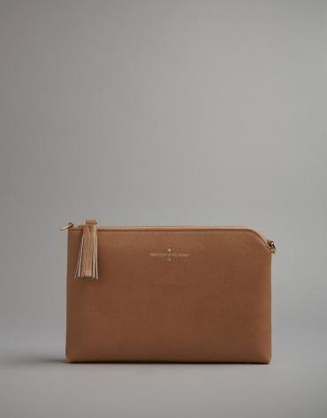 Camel leather Lisa clutch bag