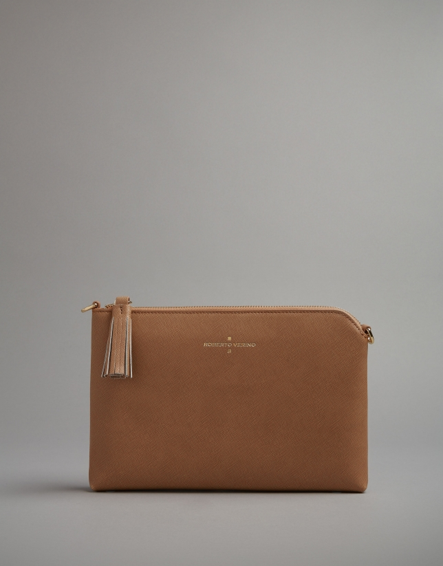 Camel leather Lisa clutch bag
