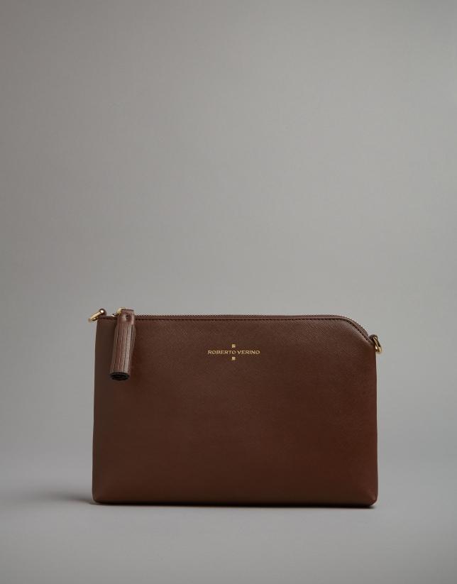 Brown leather Lisa clutch bag