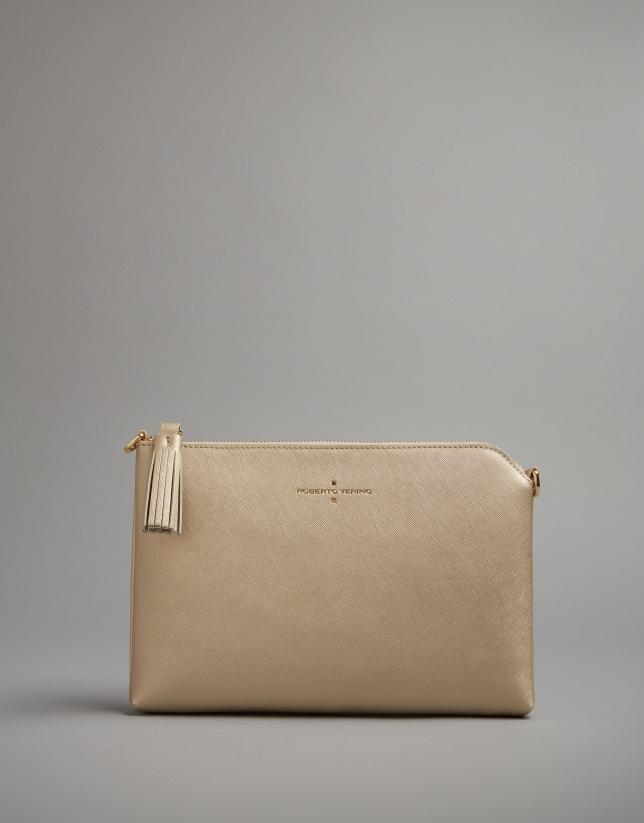 Golden leather Lisa clutch bag