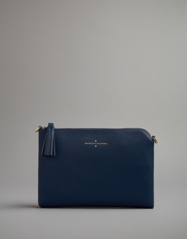 Midnight blue leather Lisa clutch bag