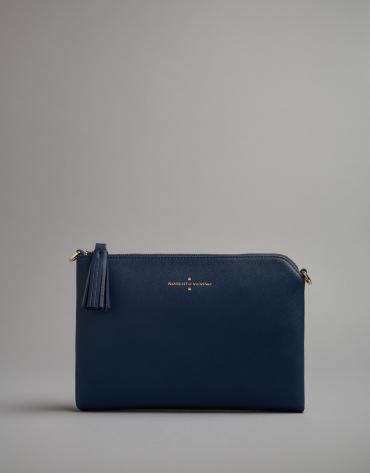 Midnight blue leather Lisa clutch bag