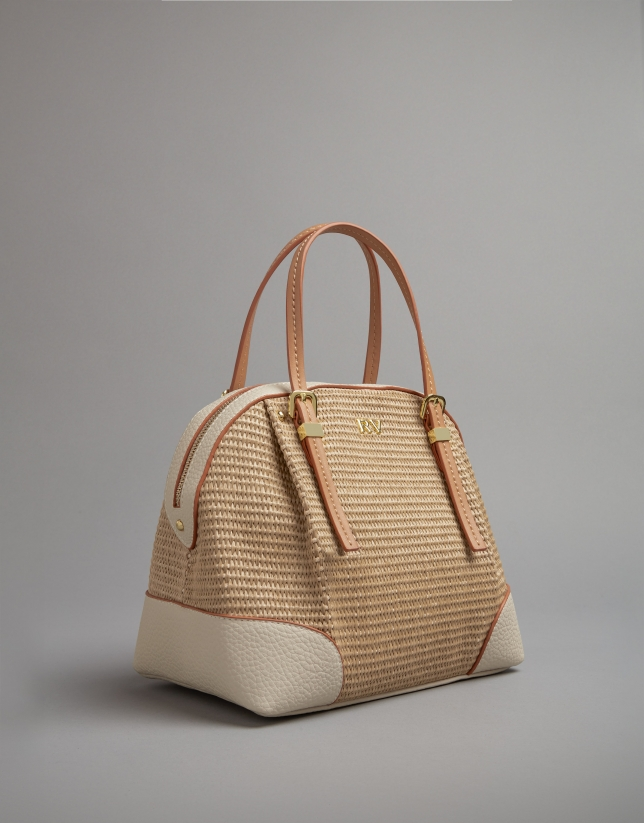 Light beige raffia Kuba mini bag