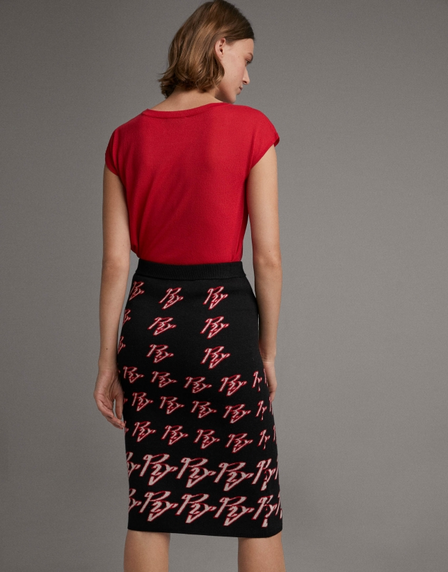 Jacquard skirt with RV logo