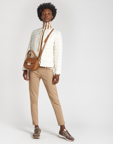 Ivory quilted jacket with peplum