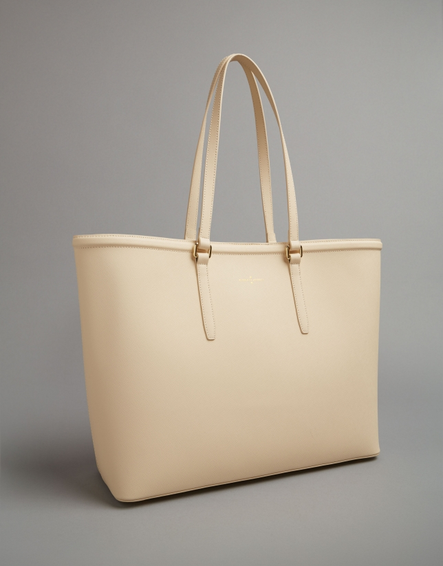Beige Bomber shopping bag