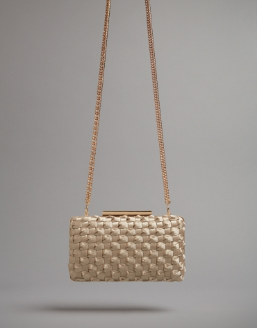 Light beige fabric Knot clutch bag