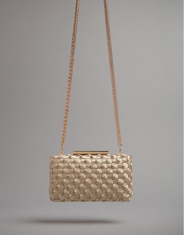 Bolso clutch Knot tejido natural