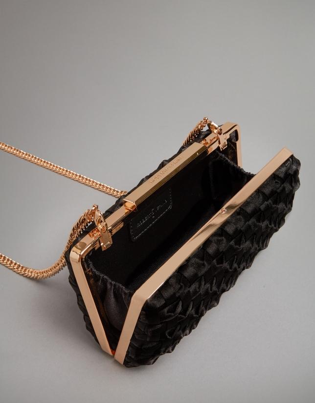 Black fabric Knot clutch bag