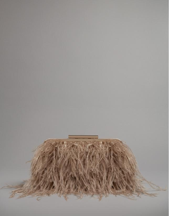 Bolso clutch Manuk plumas avestruz natural
