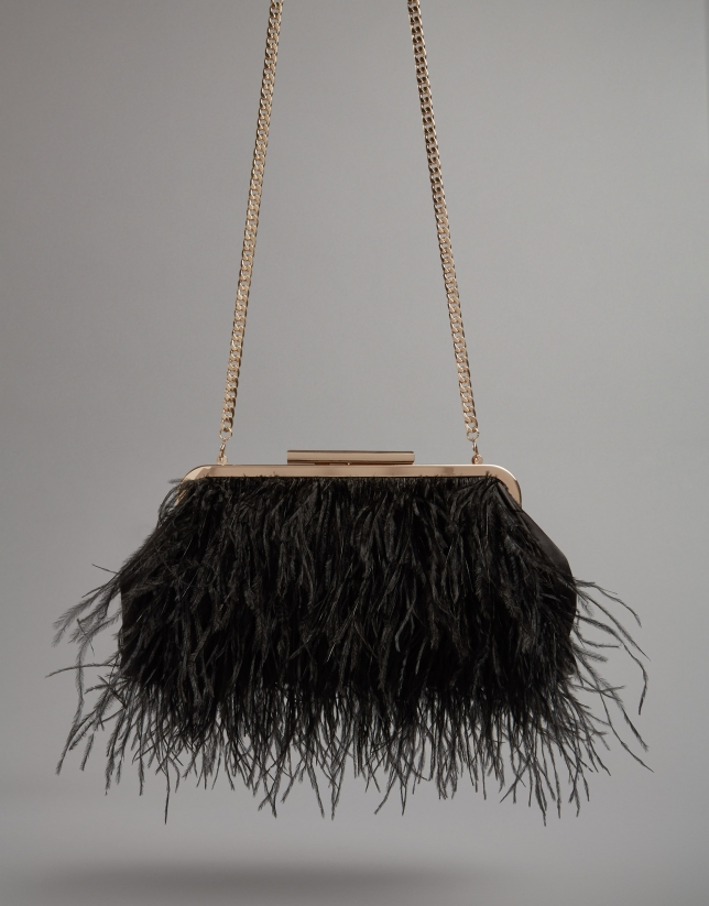 Black Manuk clutch bag with ostrich feathers