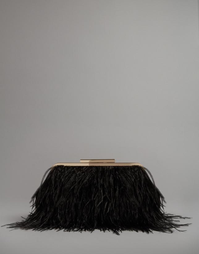 Bolso clutch Manuk plumas avestruz negro
