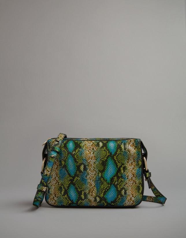 Green embossed snakeskin Trèsse shoulder bag