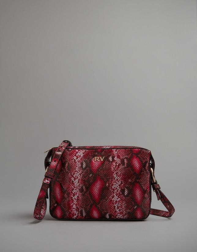 Bolso bandolera Tresse grabado serpiente rosa